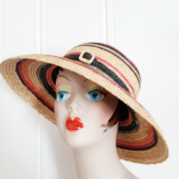 a719fba85d3b7c Vintage Accessories | Straw Striped Sun Hat | Poshmark